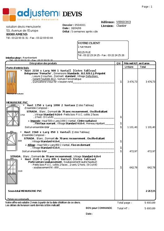 Exemple de devis service informatique for Fenetre de commande