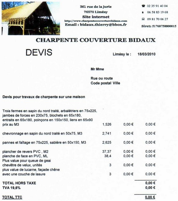 exemple de devis charpente couverture