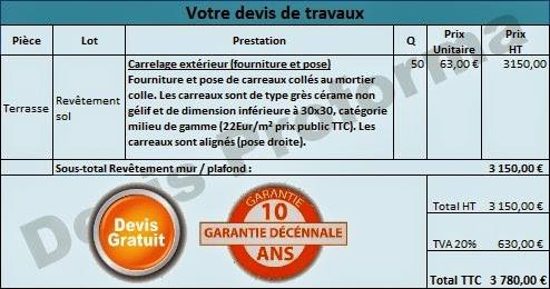 Photo exemple de devis pour la pose de carrelage for Devis de pose de carrelage