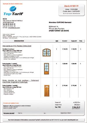 Photo exemple de devis pour menuiserie for Devis garage en ligne