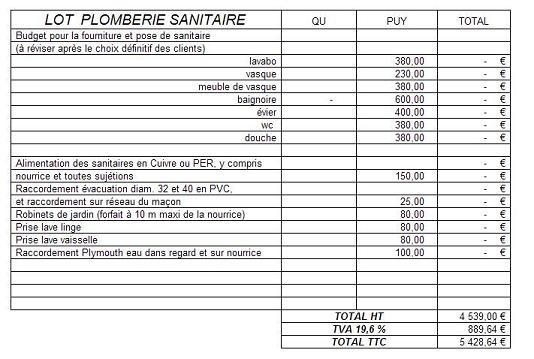Afficher exemple de devis plomberie sanitaire for Prix paysagiste m2