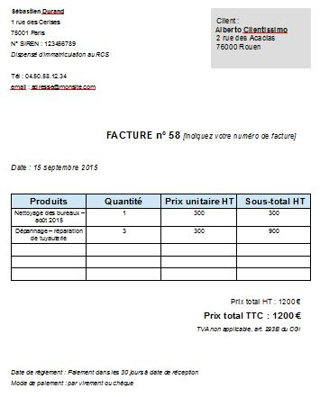 Modele De Facture Auto Entrepreneur Pdf Architecture Mai